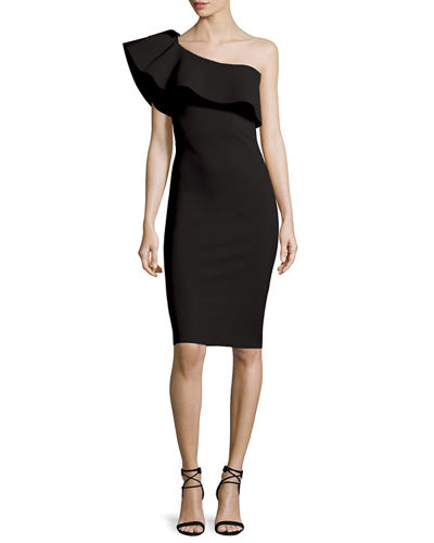 Chiara Boni La Petite Robe Custom Collection: Elisse One-Shoulder Ruffle Sheath Cocktail Dress