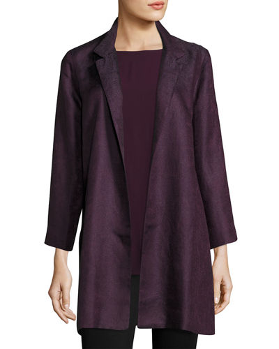 Eileen Fisher Gypsum Jacquard Long Stand Collar Jacket