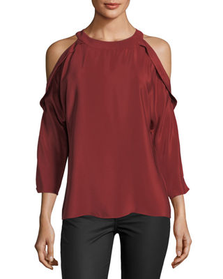 Vivica Silk Crepe Cold-Shoulder Top