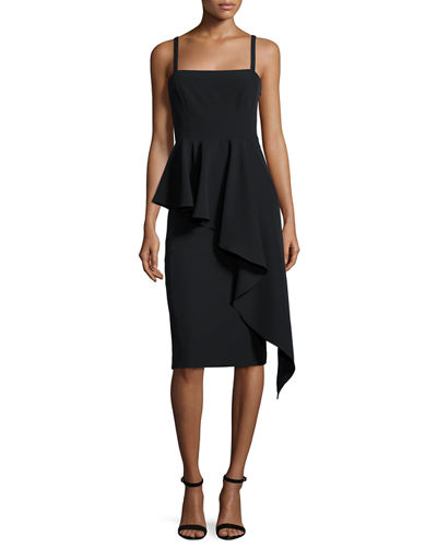 Italian Cady Cascading Ruffle Midi Sheath Dress