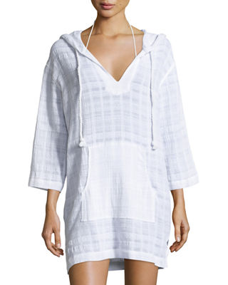 Tonal Plaid Cotton Hooded Coverup Tunic