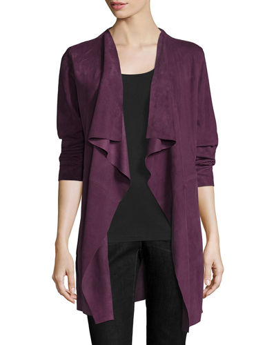 deals drapes get jacket cognac at in front look draped suede justfab drape this products faux shop great