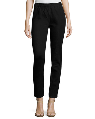 Joan Vass Stretch Denim Slim Jeans, Petite