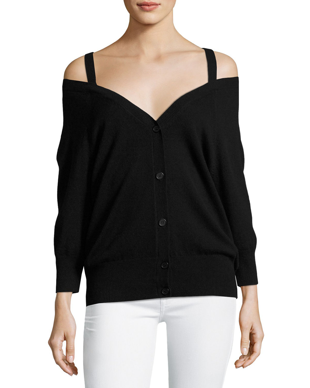 Saline B Cashmere Cold-Shoulder Cardigan