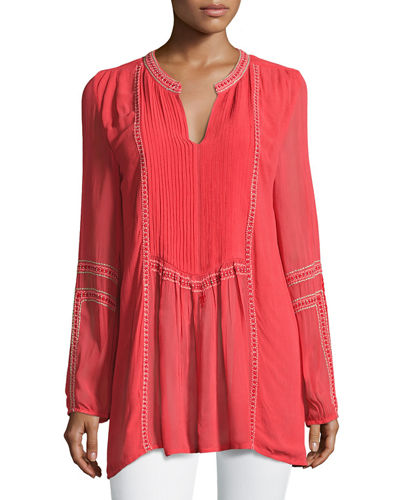 Tolani Lani Long-Sleeve Tunic w/ Contrast Embroidery, Plus