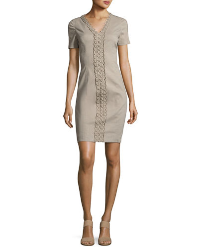 Elie Tahari Loretta Short-Sleeve Linen-Blend Sheath Dress