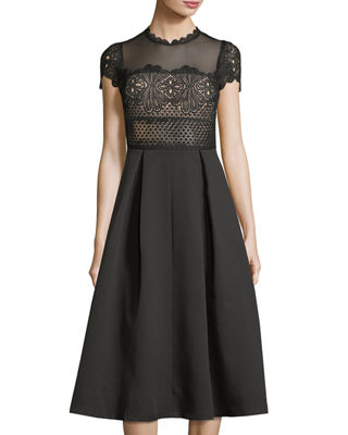 FEW MODA Ramona Mesh-Yoke Crochet Dress