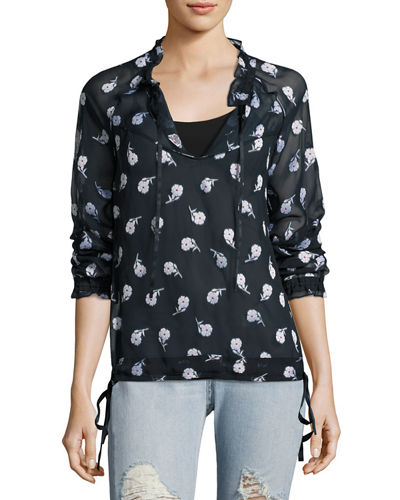 Rag & Bone Bennett Floral Tie-Sleeve Top