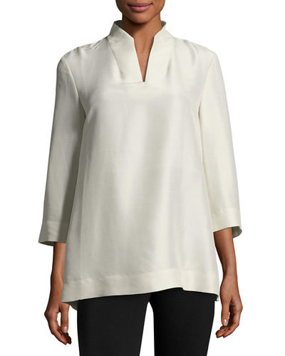 Eileen Fisher 3/4-Sleeve High-Collar Doupioni Silk Blouse