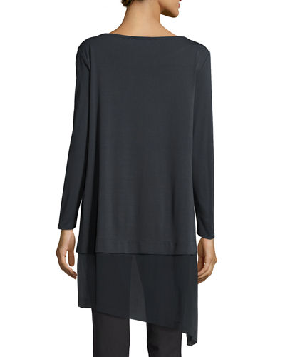 Bateau-Neck Layered Tunic w/ Asymmetric Sheer Hem, Plus Size