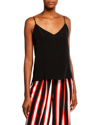 L'Agence Jane V-Neck Spaghetti-Strap Silk Tank and Matching