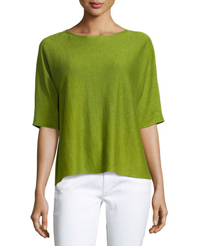 Eileen Fisher Bateau-Neck Organic Linen Box Top and