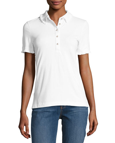 Tory Burch Lacey Pique Polo with Logo Buttons