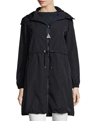 Moncler Tuile Long Hooded Drawstring Jacket