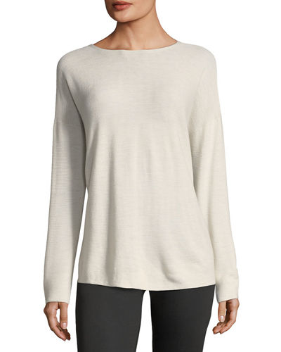 Eileen Fisher Long-Sleeve Seamless Featherweight Box Top