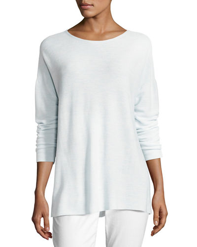 Eileen Fisher Long-Sleeve Seamless Featherweight Box Top, Petite
