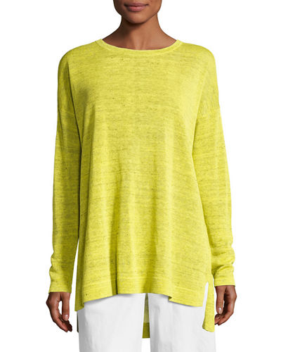 Eileen Fisher Fine Linen Crepe Knit Top