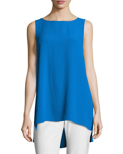 Eileen Fisher Sleeveless Silk Long Shell
