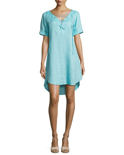 Finley Sinclair Linen Lace-Up Dress