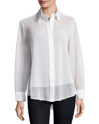 Finley Mesh Barret Button-Front Blouse