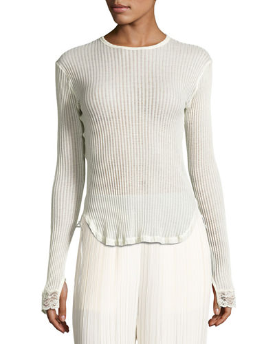 Helmut Lang Long-Sleeve Ribbed Cotton Top
