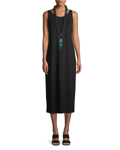 Eileen Fisher Jersey Scoop-Neck Midi Dress, Black and