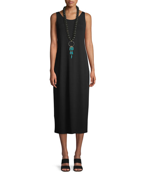 Image 1 of 3: Eileen Fisher Plus Size Jersey Scoop-Neck Midi Dress