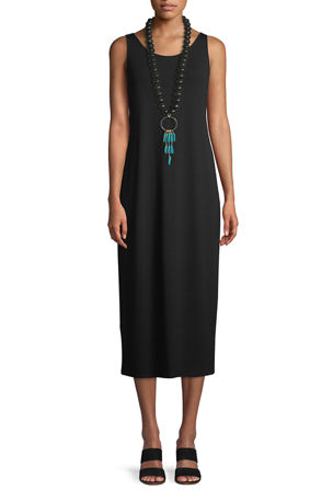 Eileen Fisher Petite Jersey Scoop-Neck Midi Dress
