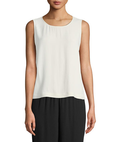 Eileen Fisher Sleeveless Short Silk Georgette Shell and