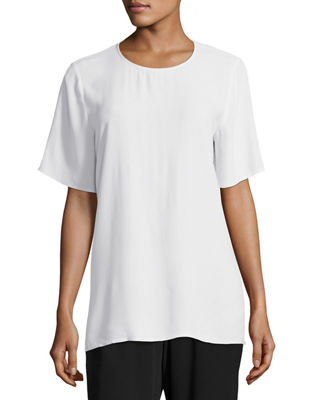 Eileen Fisher Short-Sleeve Silk Box Top and Matching