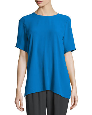 Eileen Fisher Short-Sleeve Silk Box Top