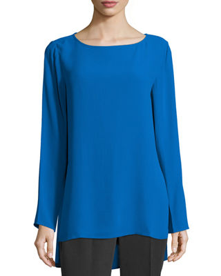 Image 1 of 2: Long-Sleeve Silk Georgette Top