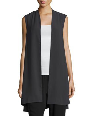 Image 1 of 4: Silk Georgette Crepe Long Vest