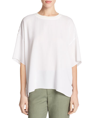 Vince Crepe Silk Rib-Neck Drop-Shoulder Tee