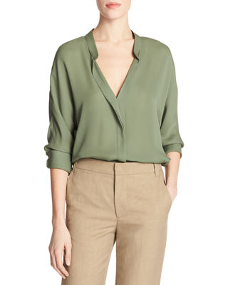 Vince Banded-Collar Concealed-Placket Silk Blouse