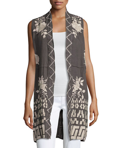 Johnny Was Letty Linen Embroidered Long Vest, Plus