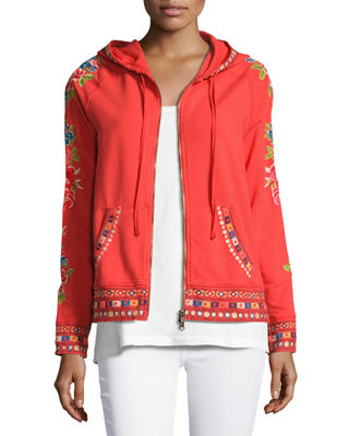 Image 1 of 5: Rina Embroidered Hoodie, Plus Size