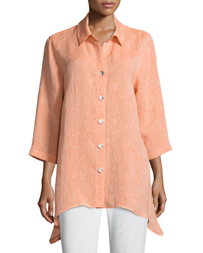 Caroline Rose Chambray Linen Side-Fall Shirt and Matching
