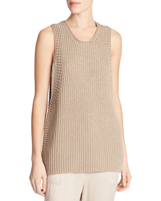 Vince Cotton Waffle-Stitch Sweater Tank Top