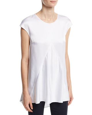 Luxe Crepe Cap-Sleeve Top