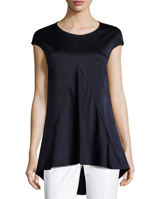 St. John Collection Luxe Crepe Cap-Sleeve Top