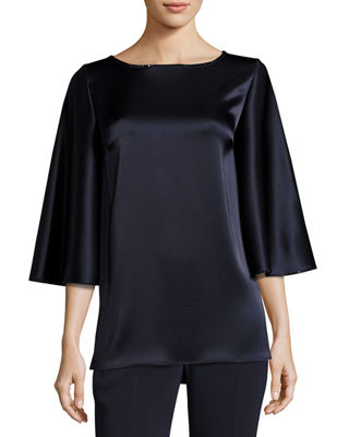 Image 1 of 5: Liquid Satin Cape-Sleeve Blouse