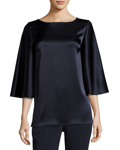 Liquid Satin Cape-Sleeve Blouse