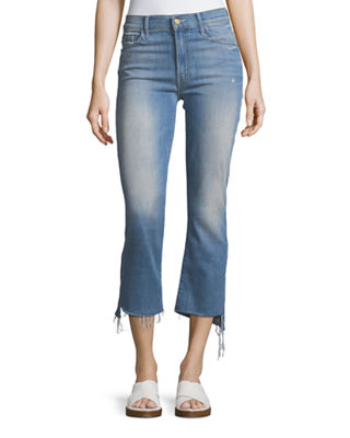 Mother Denim Insider Crop Jeans w/ Step Fray