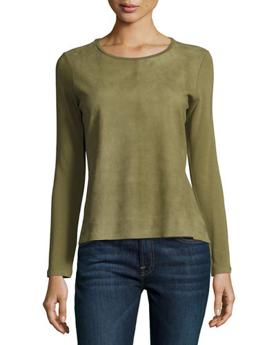 Majestic Paris for Neiman Marcus Long-Sleeve Suede &