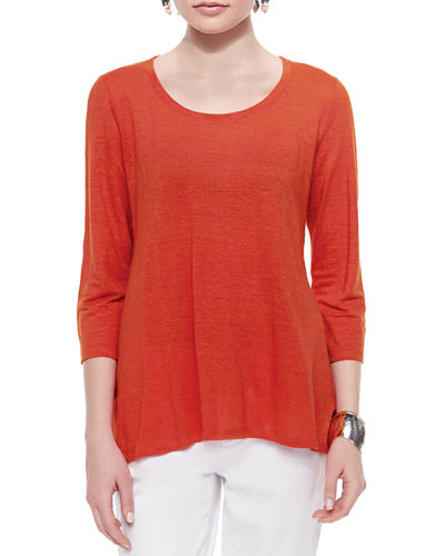 3/4-Sleeve Scoop-Neck Organic Linen Tee, Petite