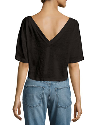 Image 2 of 2: Connor Cropped Boxy Linen Tee