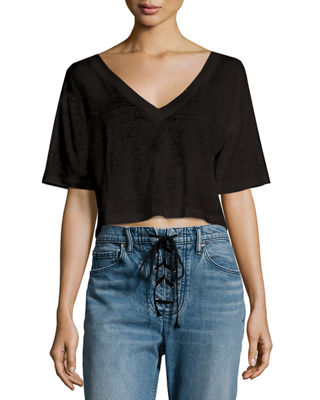 Image 1 of 2: Connor Cropped Boxy Linen Tee