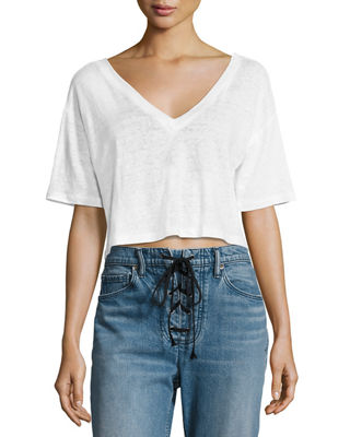 Connor Cropped Boxy Linen Tee