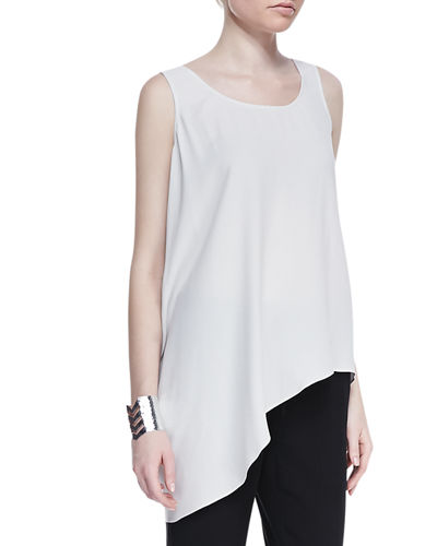 Eileen Fisher Silk Asymmetric Draped Shell, Petite